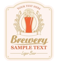 brewery label with a glass of beer vector image