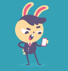 Business Bunny Talking on the Phone vector