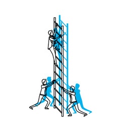 business men climbing wooden stairs blue vector image