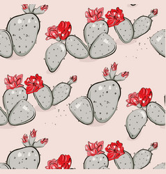 Cactus bloom red pink summer pattern hand-drawn vector