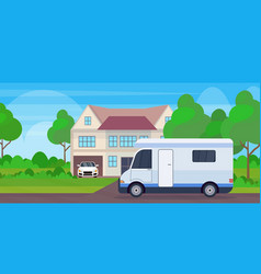 caravan car family trailer truck stayin near vector image