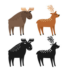 cartoon character moose and deer and animal vector image