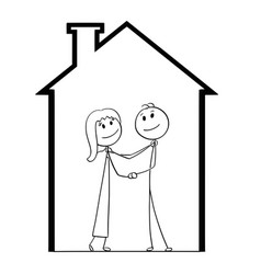 cartoon young couple dreaming about new house vector image