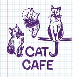 Cat cafe Hand drawn vector