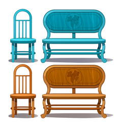 chairs and benches blue and brown color vector image