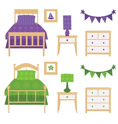 Children Bedroom Furniture Set vector