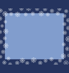 christmas border dark blue frame covered by white vector image