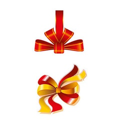 Close Up Of A Red Ribbon Bow Gift Isolated vector