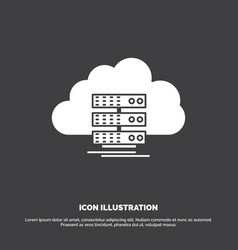 Cloud storage computing data flow icon glyph vector