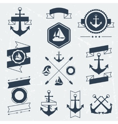 Collection of nautical symbols icons badges and vector