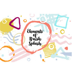 color brush splash drawn elements vector image