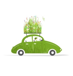 Cottager driving green car with plants on roof vector