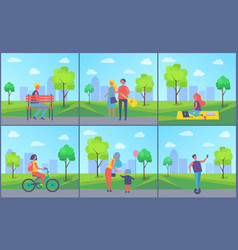 couple in city town park set vector image