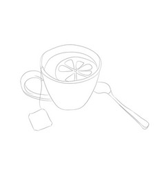 cup with tea drawing lines vector image