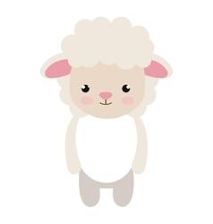Cute little sheep animal character vector