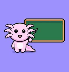 Cute oxolotl teacher with blank chalkboard vector