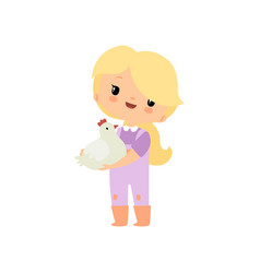 Cute young girl in overalls and rubber boots vector