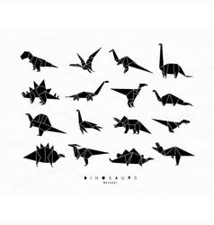 Dinosaurus origami set black vector