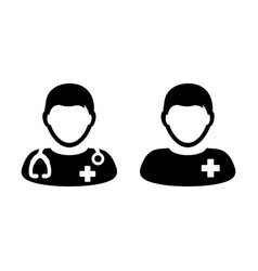 Doctor icon male patient medical consultation vector