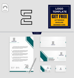 e initial logo template and stationery design vector image