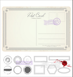 Empty post card retro vintage design 0111 vector