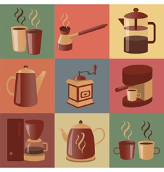 Equipment for making coffee icons set vector image