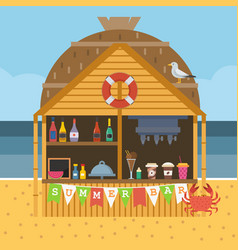 Exotic beach bar vector
