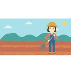Female farmer with shovel vector