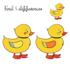 Find differences kids layout for game duck vector