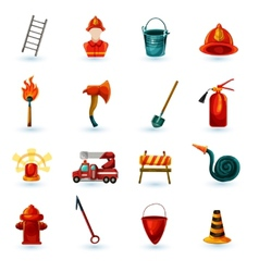 Firefighter Icons Set vector