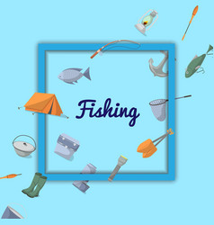 Fishing poster with fisher equipment icons vector