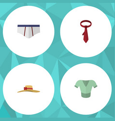Flat icon garment set of cravat underclothes vector