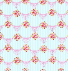 Floral pattern with garden pink roses vector image