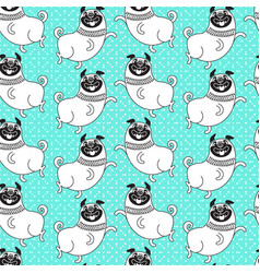 Funny pugs seamless pattern background vector