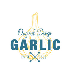 Garlic logo original design estd 1978 culinary vector