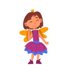 Girl dressed as fairy princess cute kid playing vector