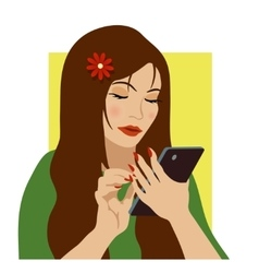 girl with phone vector image
