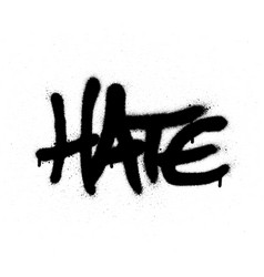 Graffiti sprayed hate word in black on white vector