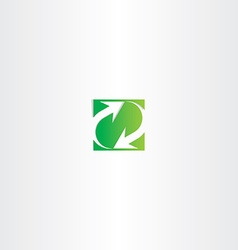 Green recycle arrow square sign symbol vector