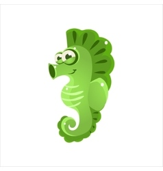Green Seahorse Icon vector