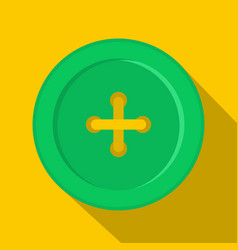 Green sewing button icon flat style vector