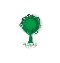 green tree in paper cut style tree nature logo vector image