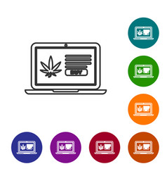 grey line laptop and medical marijuana or cannabis vector image