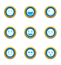 grin icons set flat style vector image