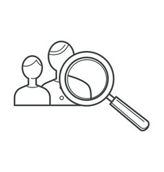 group people users and magnifying glass tool vector image