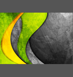 Grunge wavy corporate green and yellow background vector