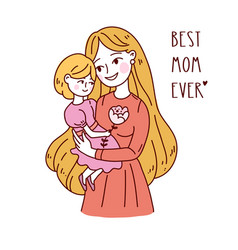 Happy friendship day mother and daughter vector