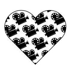 heart label with film cinema movie projector vector image