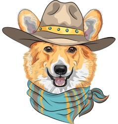 Hipster dog Pembroke Welsh corgi vector