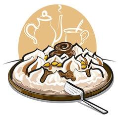 Ice cream cake and tea vector
